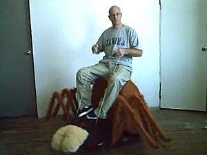 man-rides-giant-spider