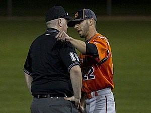 Arguing with umpire