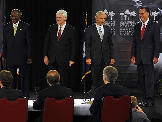 Herman Cain, Newt Gingrich, Ron Paul, Mitt Romney