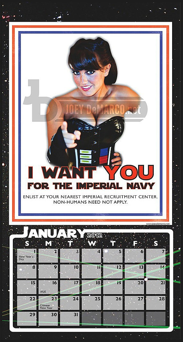 star wars pin-up calendar joey demarco