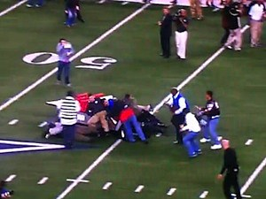 runaway cart cowboys stadium crash uil championship high school football