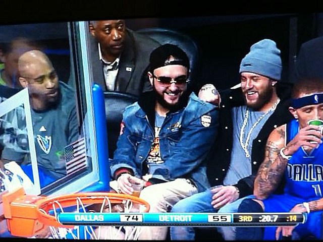 Drunk fans on Mavericks bench