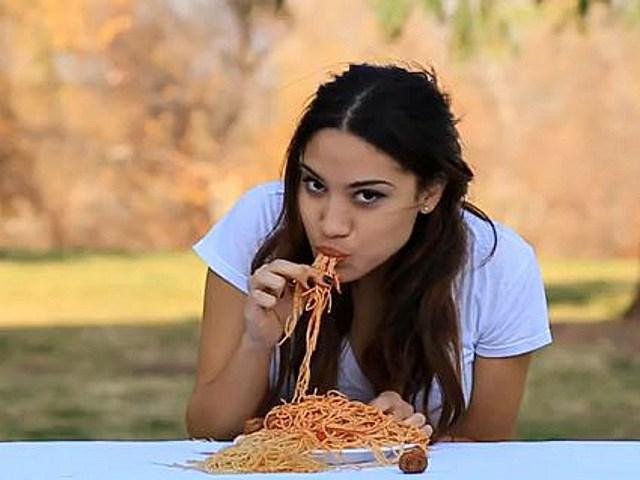 Sexy Girl Eats Spaghetti