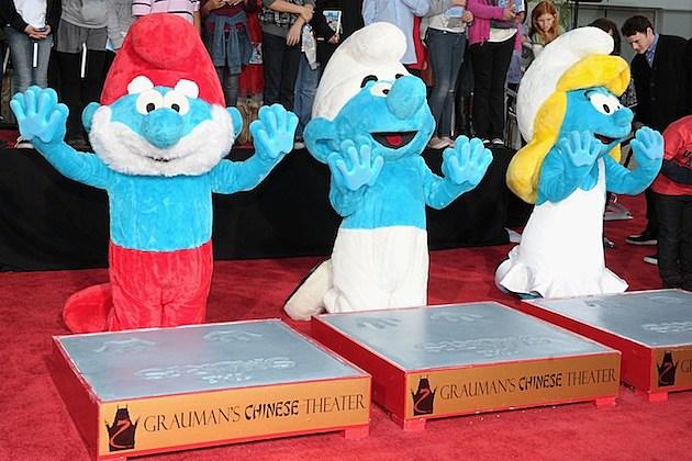 smurfs cement premiere grauman's chinese theater papa smurf smurfette