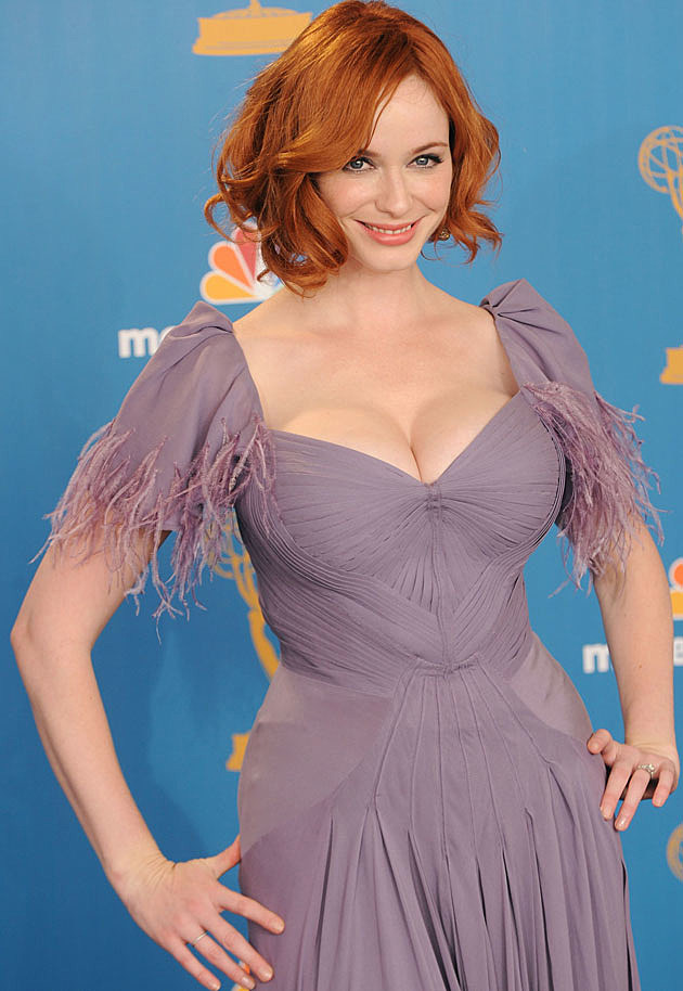 Christina Hendricks purple dress