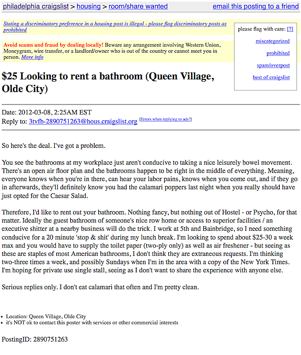 Craiflist Com: Worker Places Craigslist Ad For A Bathroom To Avoid Work