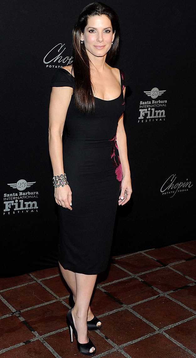 Sandra Bullock black dress