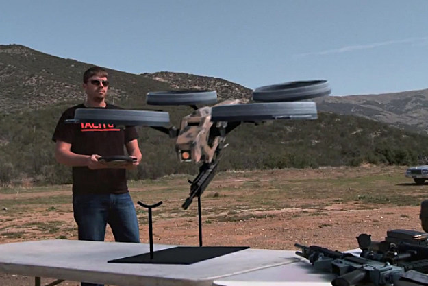 Charlene, the remote controlled quad-rotor flying machine gun