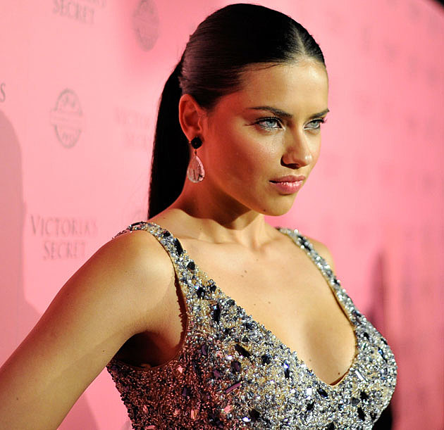 Adriana Lima tied hair
