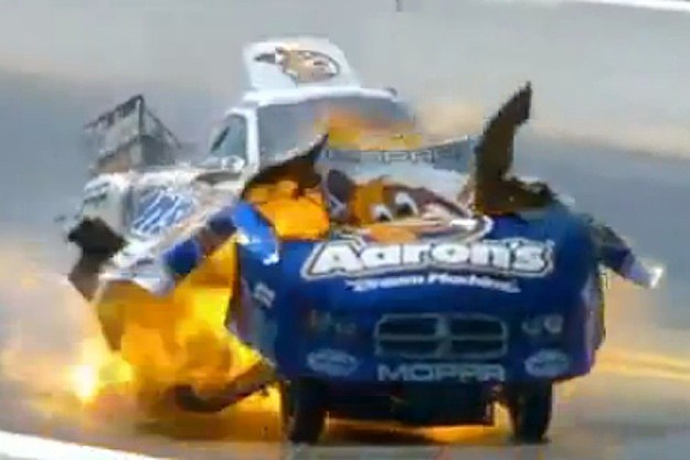 funny car explosion matt hagan NHRA four wide nationals charlotte north carolina