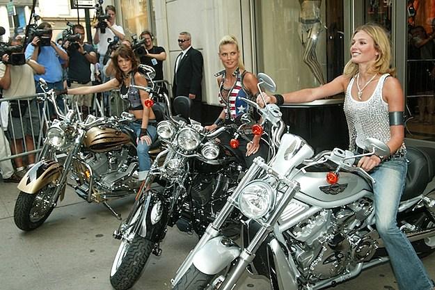 Ines Rivero, Heidi Klum, Bridget Hall harley davison motorcycles