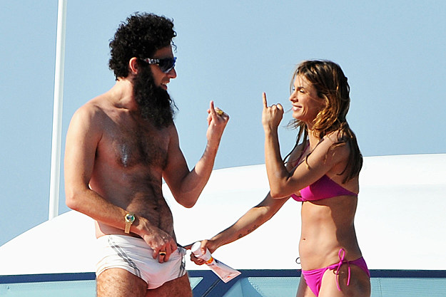 Sacha Baron Cohen as 'The Dictator' with Elisabetta Canalis