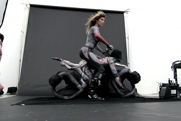 Naked Painted Motorcycle Yoga