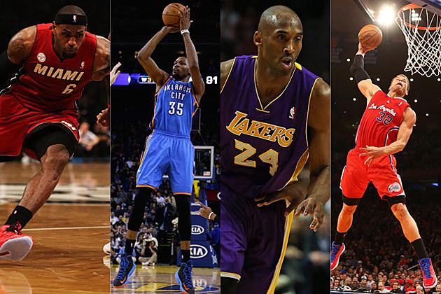 LeBron James, Kevin Durant, Kobe Bryant, Blake Griffin