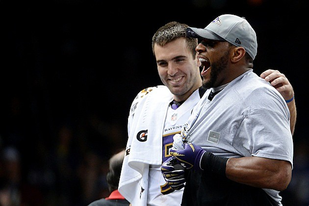 Joe Flacco and Ray Lewis