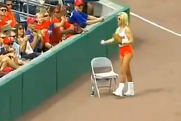 Hooters Girl Foul Ball