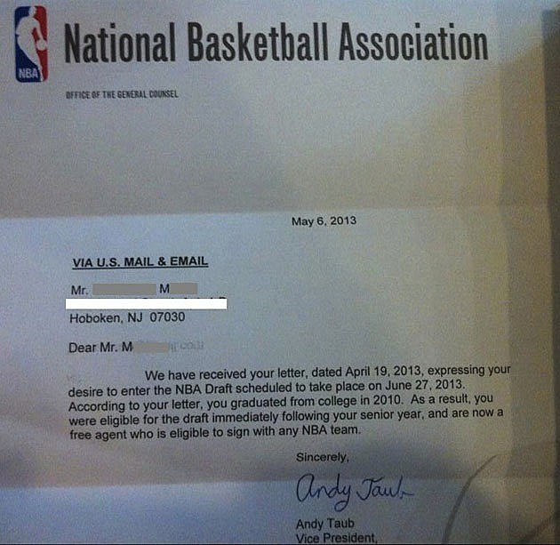 Drunk NBA Draft Letter Reply