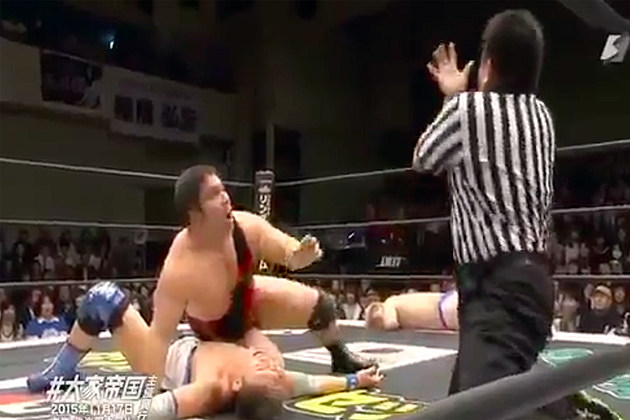 Japanese wrestling match takes a left turn