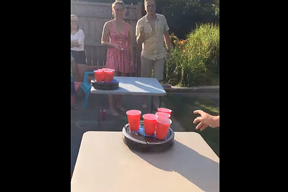 roomba beer pong is your new favorite drinking game
